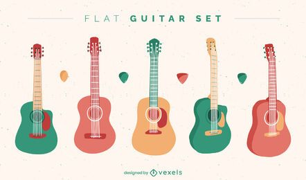 Colorful guitar instrument set