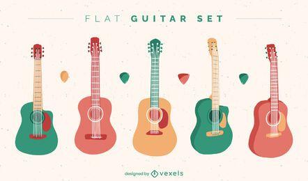 Conjunto de instrumentos de guitarra coloridos