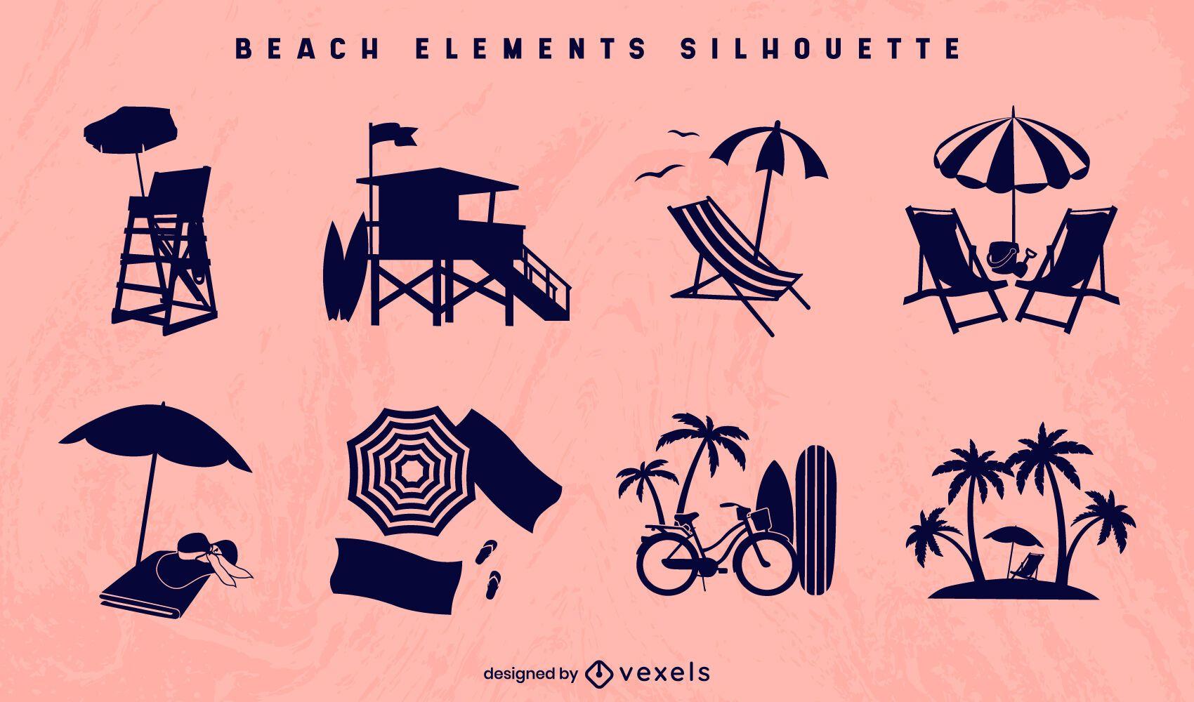 Conjunto de silhueta de elemento de praia