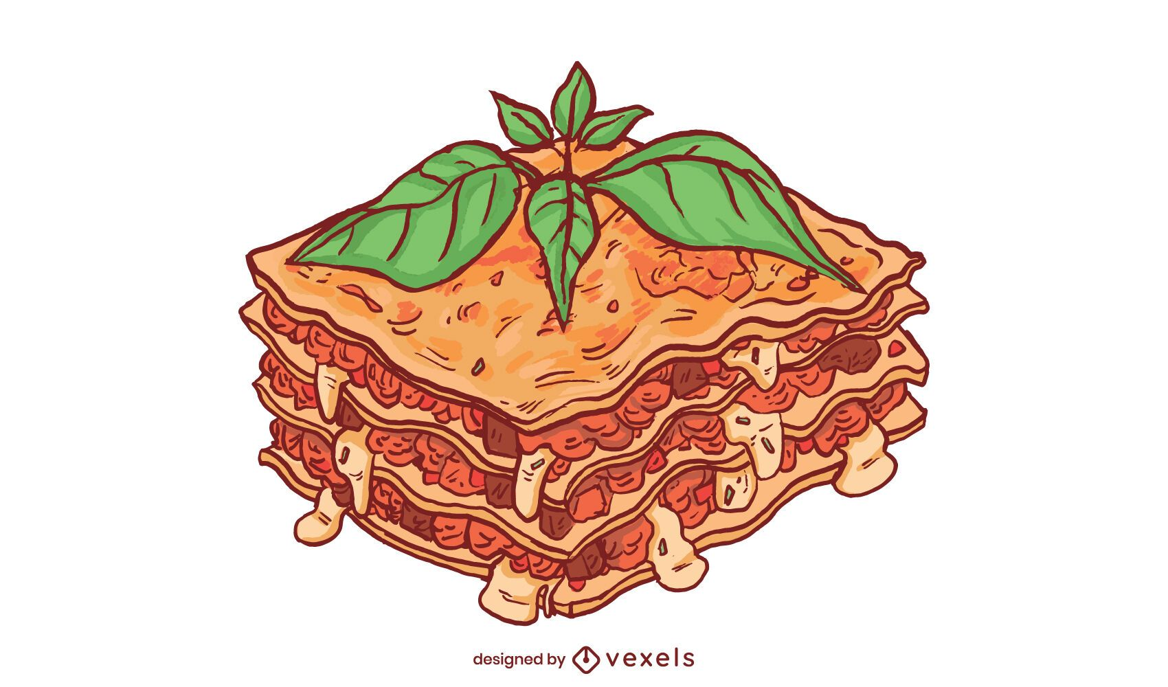 Diseño de ilustración de lasaña de carne