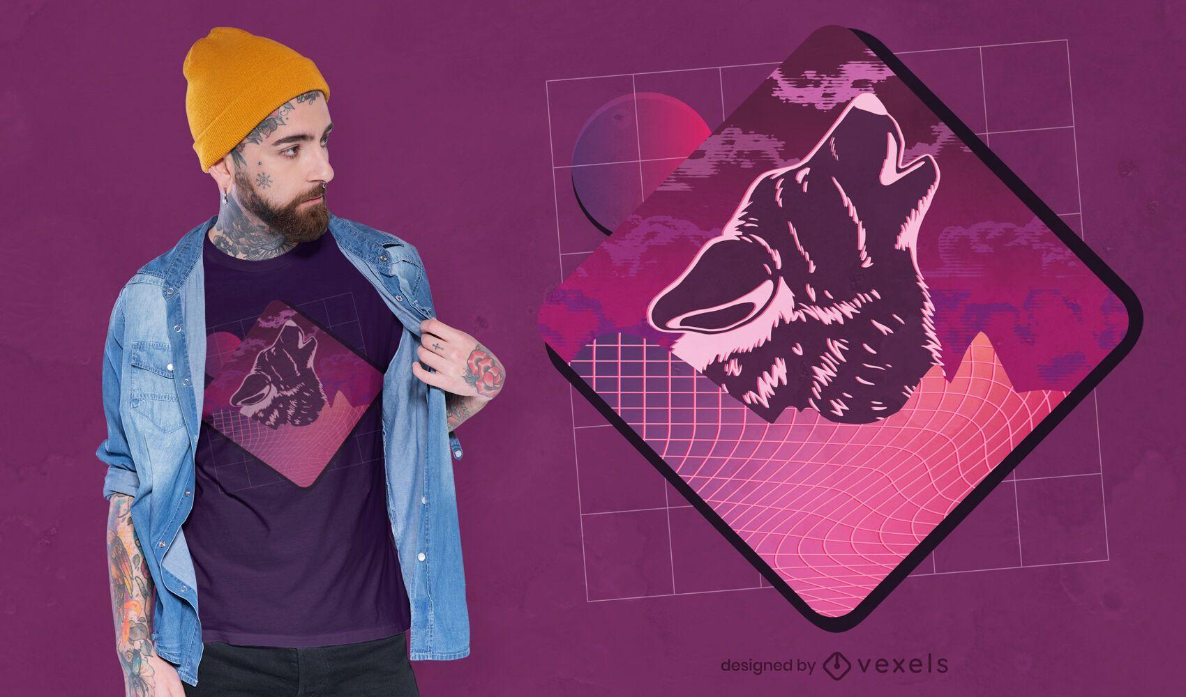 Vaporwave wolf t-shirt design