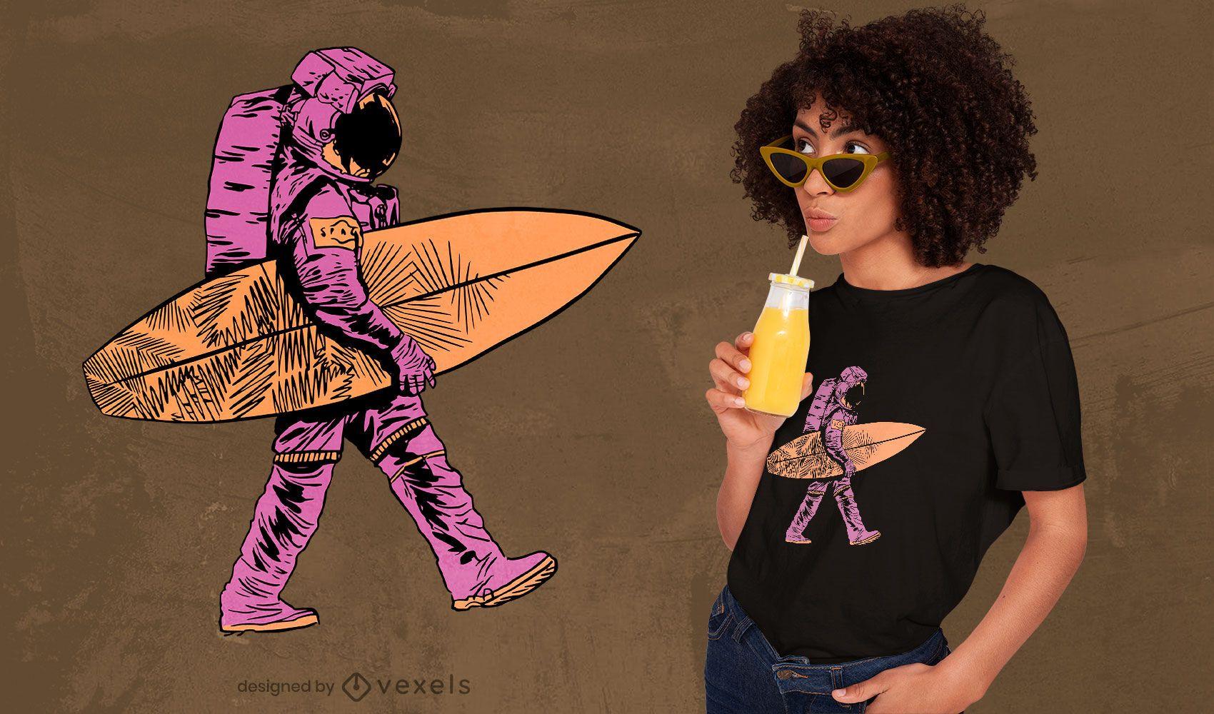 Surfer astronaut t-shirt design