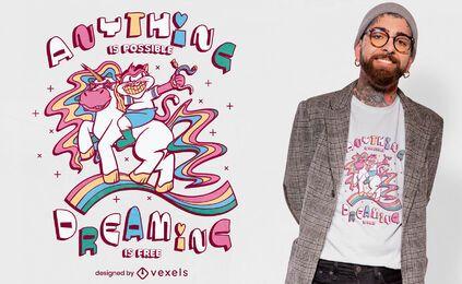 Diseño de camiseta con cita de unicornio gato