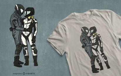 Design de t-shirt de casal de motociclistas