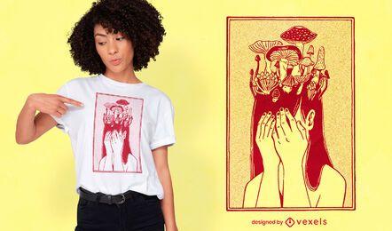 Diseño de camiseta de niña hongo