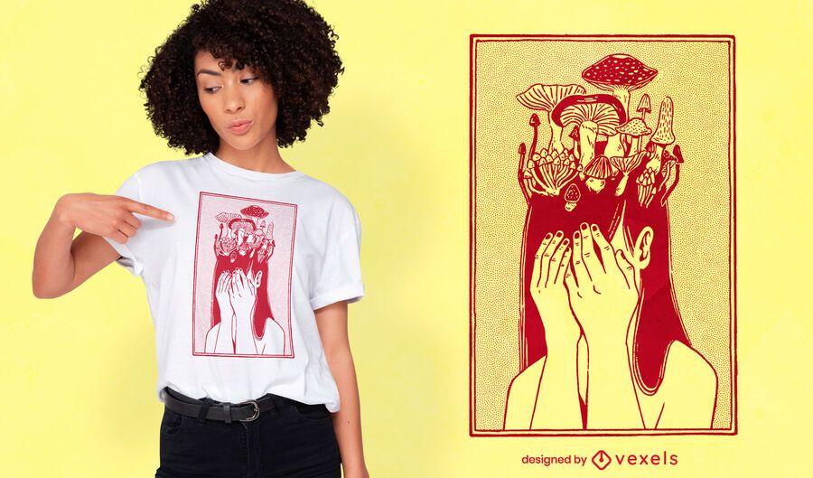 Design de camiseta de menina cogumelo