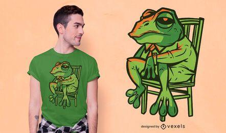 Diseño de camiseta de rana de traje.