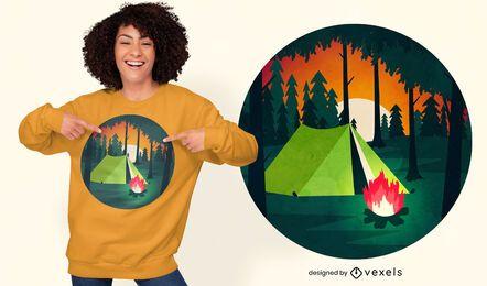 Diseño de camiseta de escena de camping.