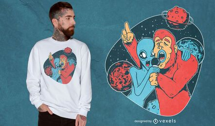 Diseño de camiseta alien bigfoot
