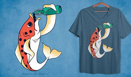 Beer fish t-shirt design