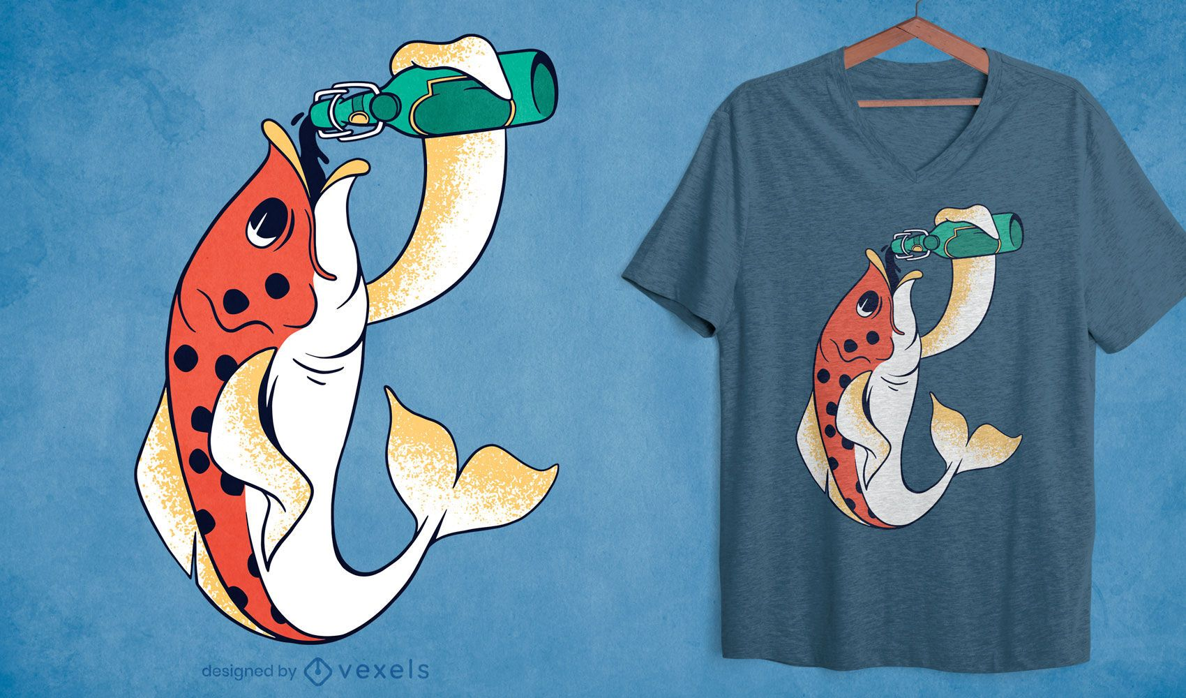 Diseño de camiseta de pez cerveza.