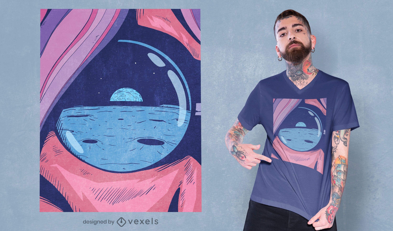 Diseño de camiseta paisaje luna