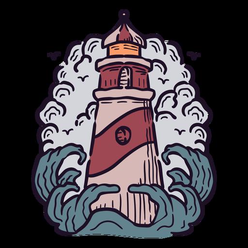 Ilustración del océano faro