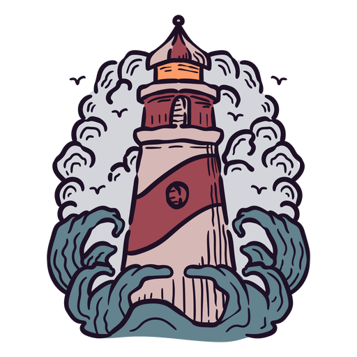Lighthouse ocean illustration
