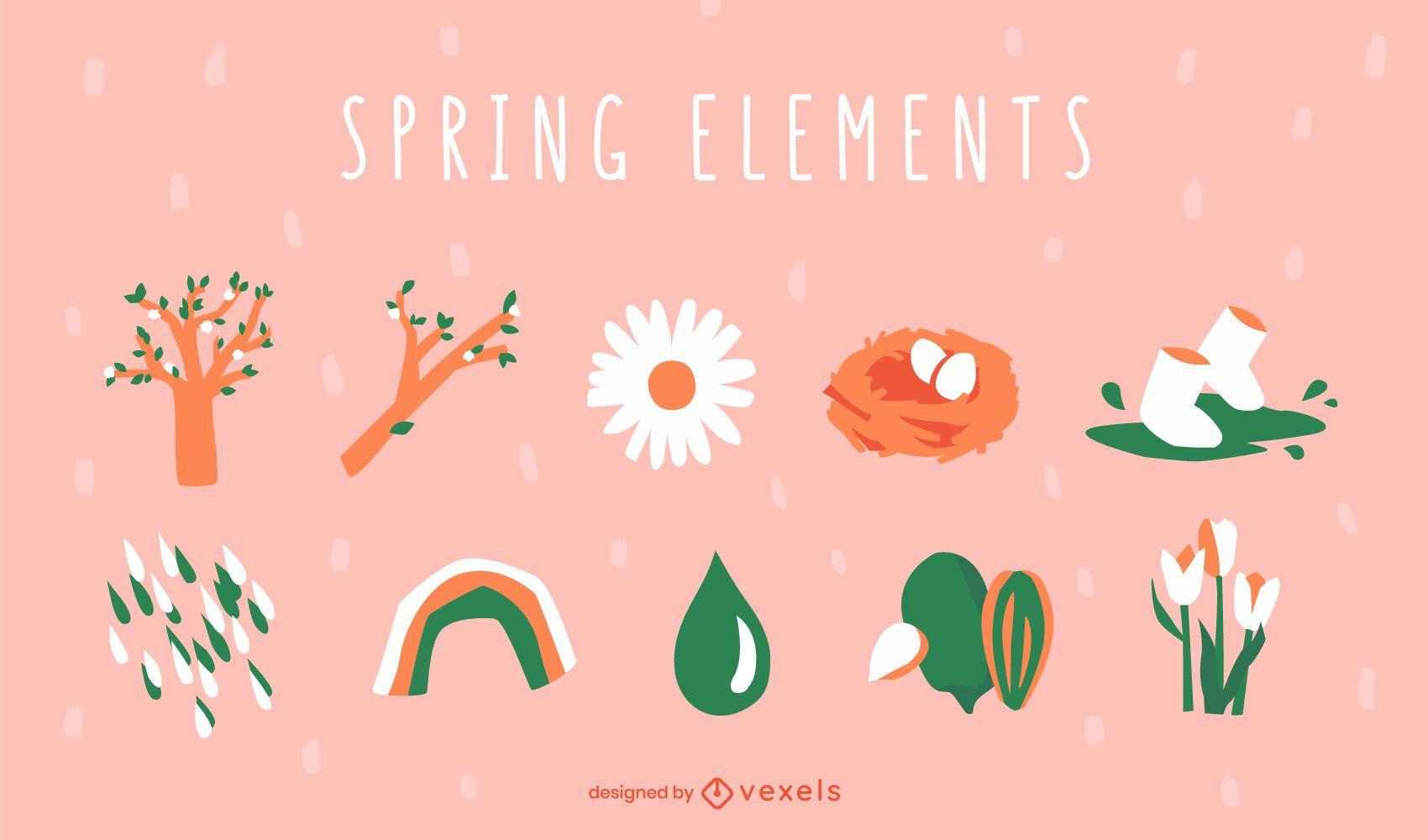 Conjunto de elementos de naturaleza de primavera