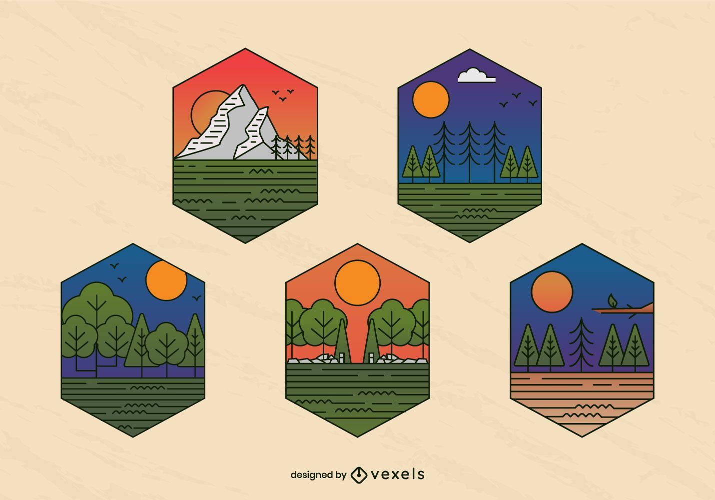 Conjunto de insignias de pinos de paisaje