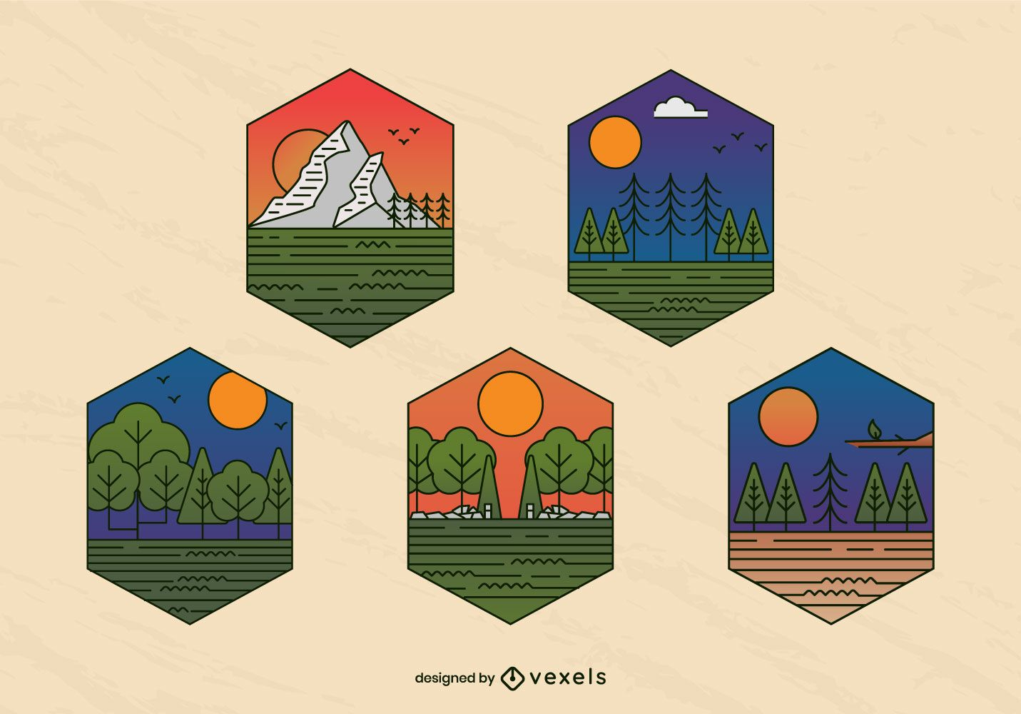 Landscape pine trees badge set