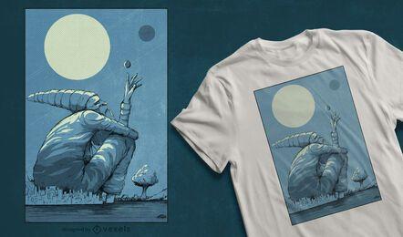 Desenho de t-shirt de gnomo com paisagem