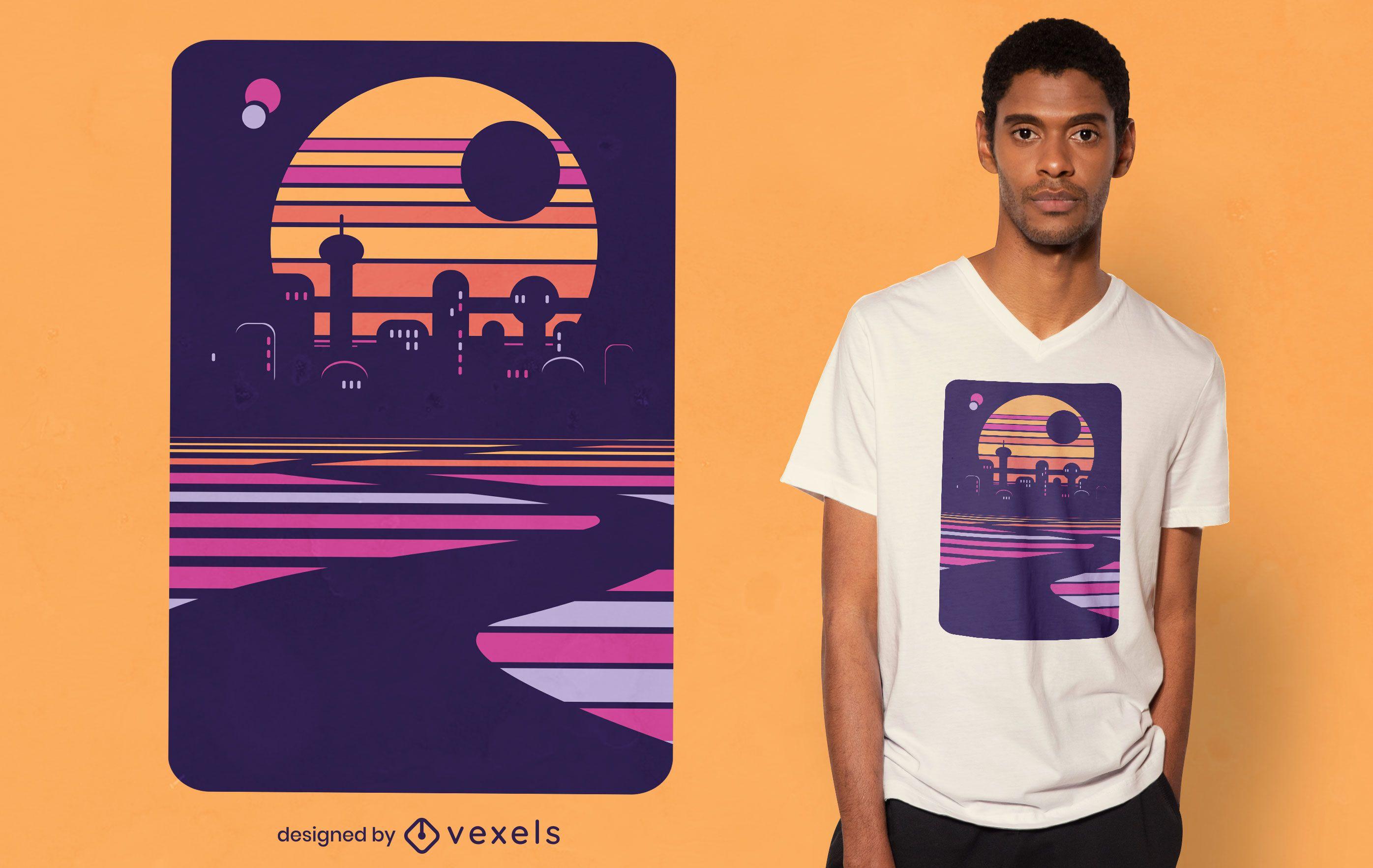 Diseño de camiseta de ciudad futurista.