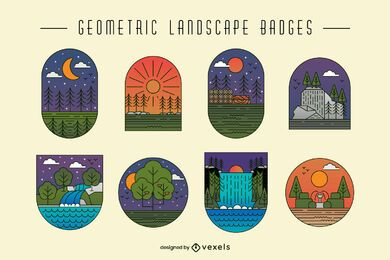 Geometric landscape nature badge set