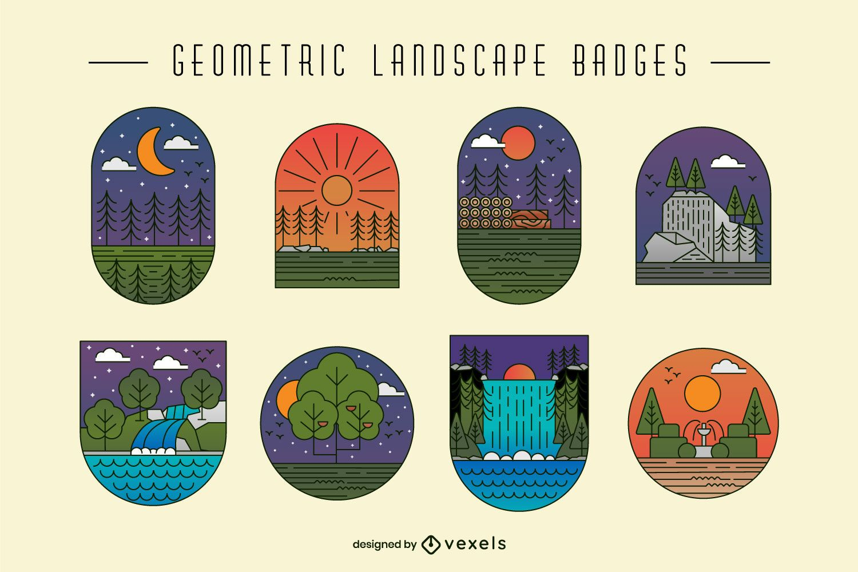 Geometric landscape nature badge set