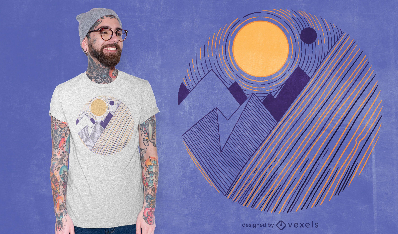 Diseño de camiseta de paisaje de montañas.