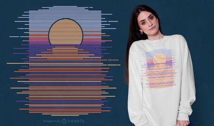 Diseño de camiseta horizonte puesta de sol