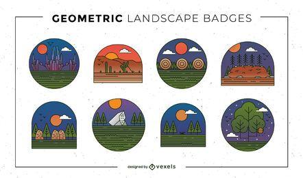 Conjunto de insignias de paisaje geométrico