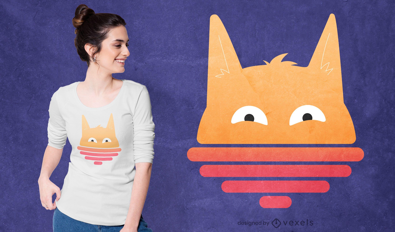 Cute sunset cat t-shirt design
