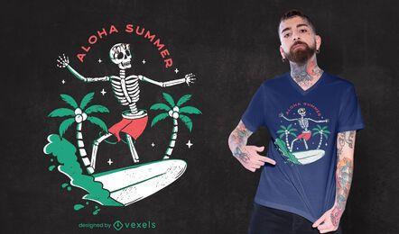 Diseño de camiseta de verano esqueleto.