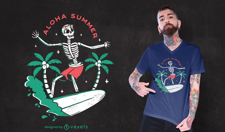Skeleton summer t-shirt design