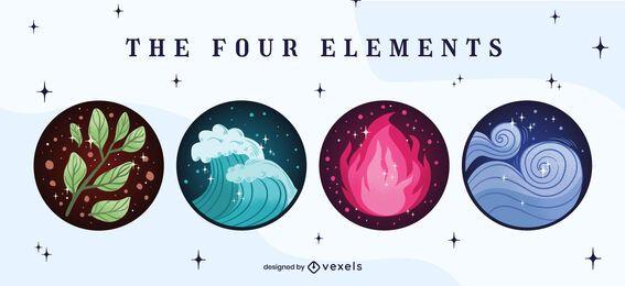 Conjunto de emblemas de quatro elementos