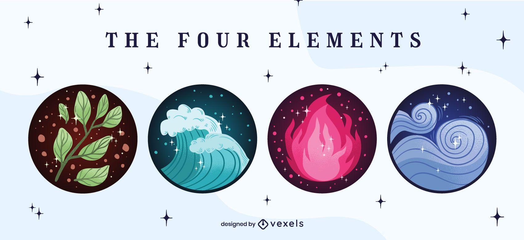 Four element badge set