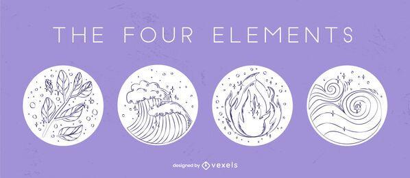 Conjunto de emblemas desenhados à mão com quatro elementos