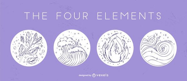 Four element hand-drawn badge set