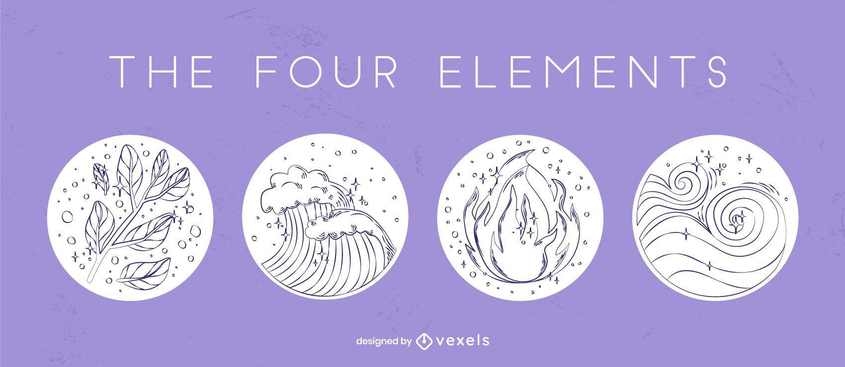 Four element hand-drawn badge set