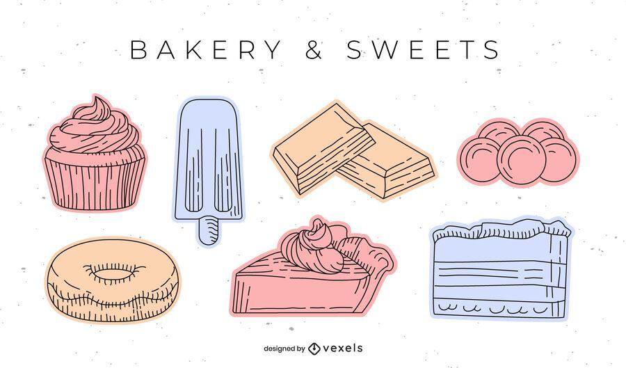 Conjunto de elementos de panadería dulce dibujado a mano