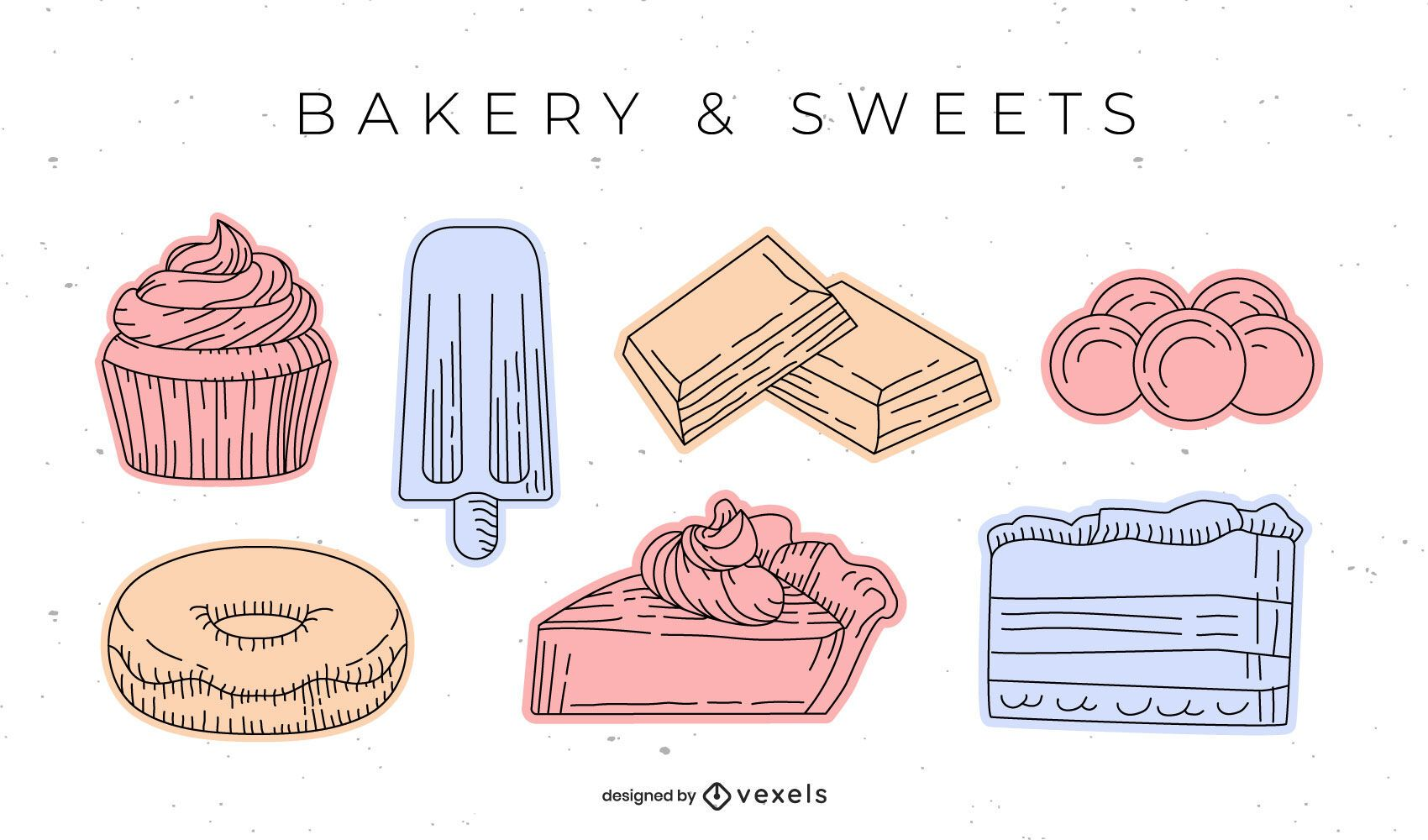 Sweet bakery element hand-drawn set