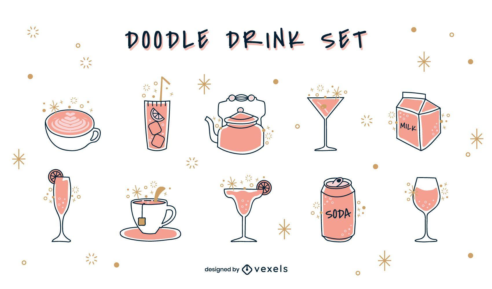 Conjunto de bebidas Doodle