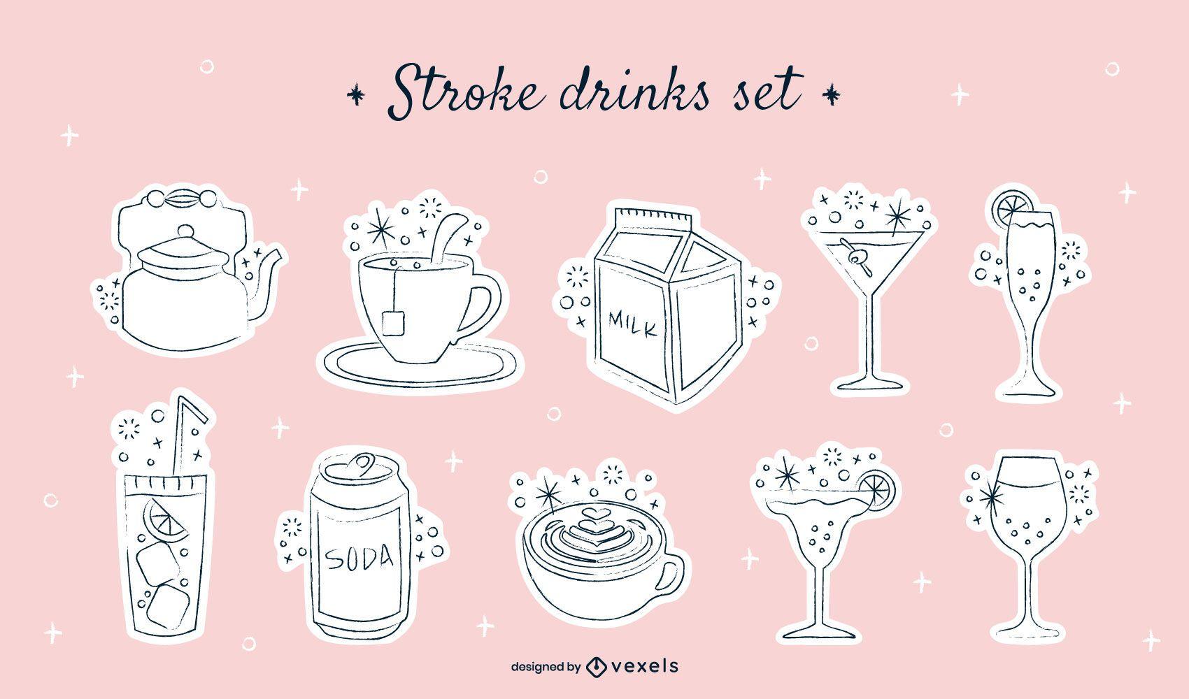 Lindo conjunto de trazos de bebida