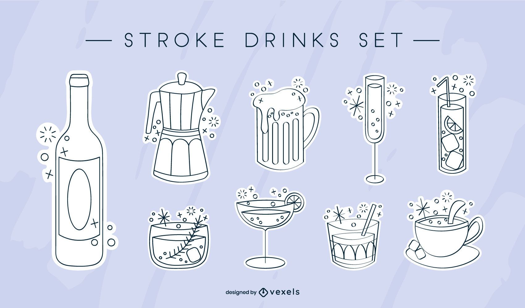 Lindo set de bebida brillante