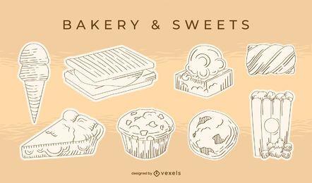 Conjunto de postres dulces dibujados a mano.