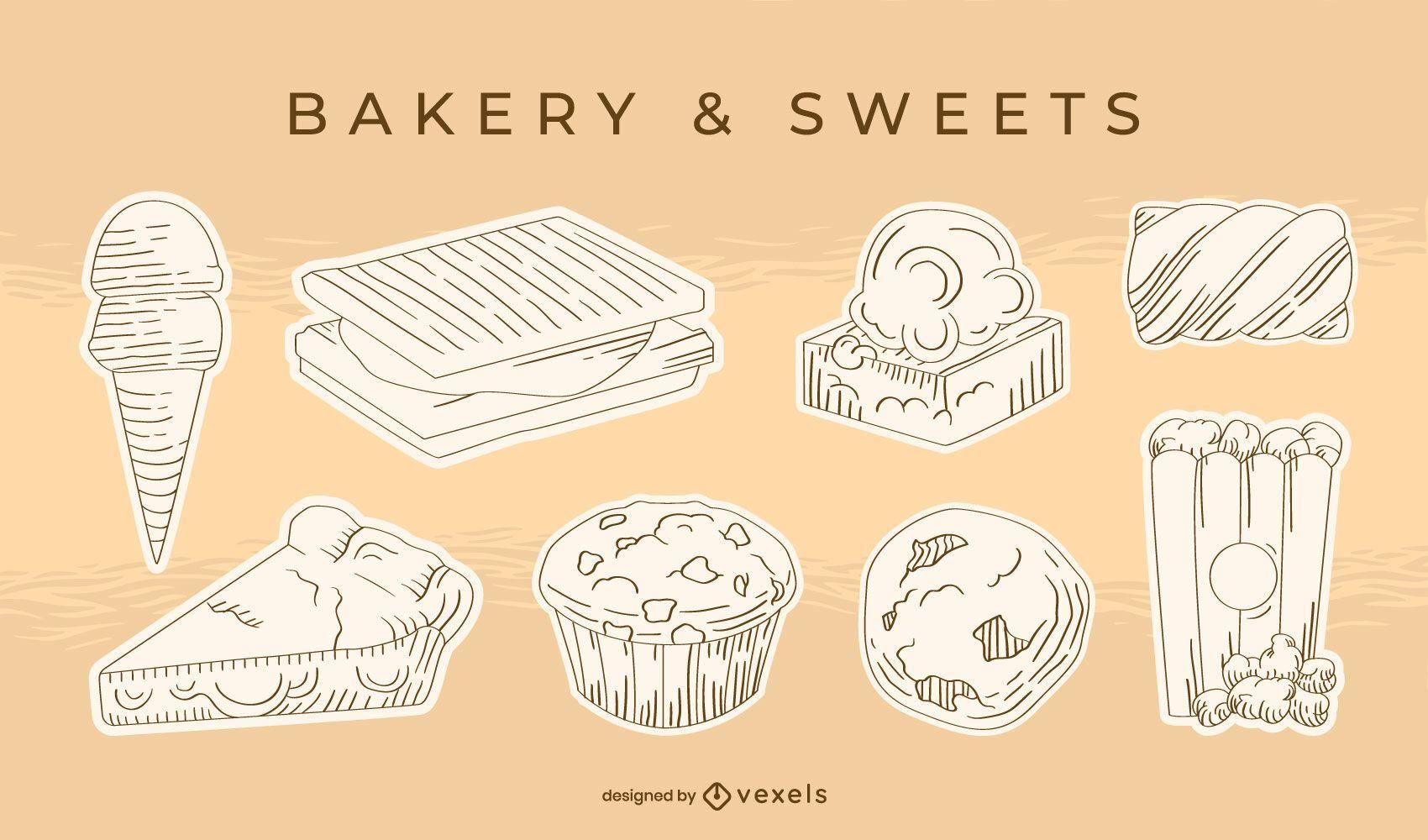 Sweet desserts hand-drawn set
