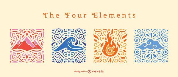 Conjunto de composición swirly de cuatro elementos.