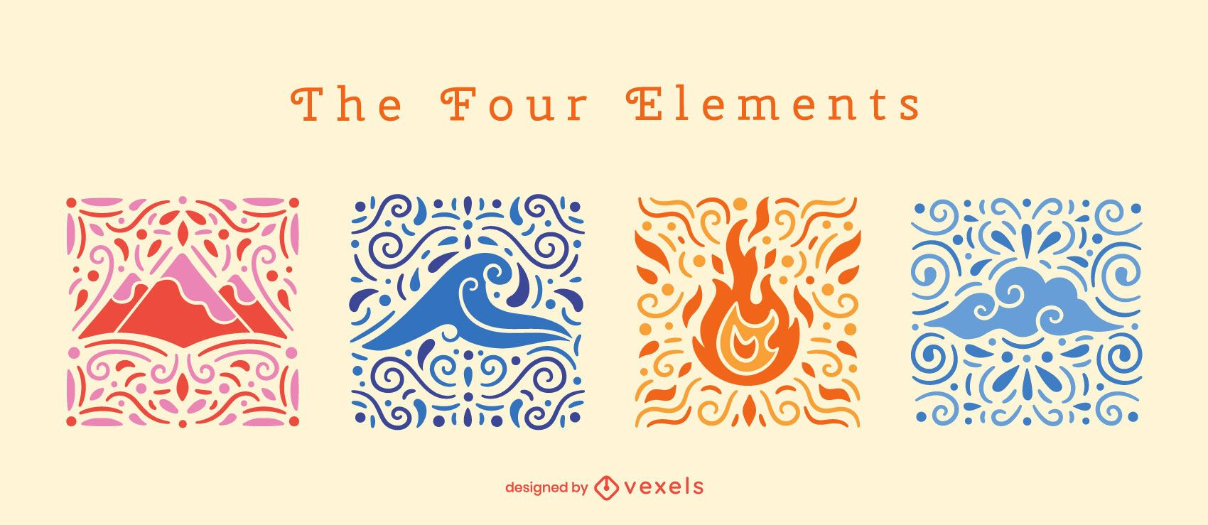Four elements swirly composition set