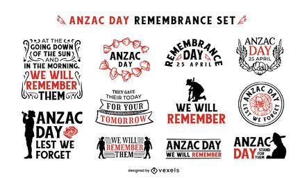 Anzac Day remembrance badge set