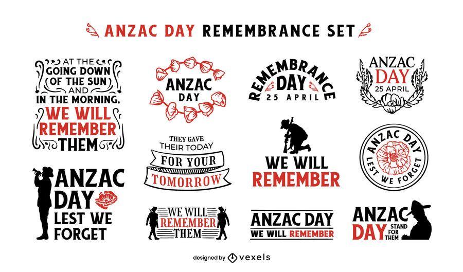 Anzac Day remembrance badge set