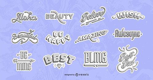 Optimistic quotes sticker set