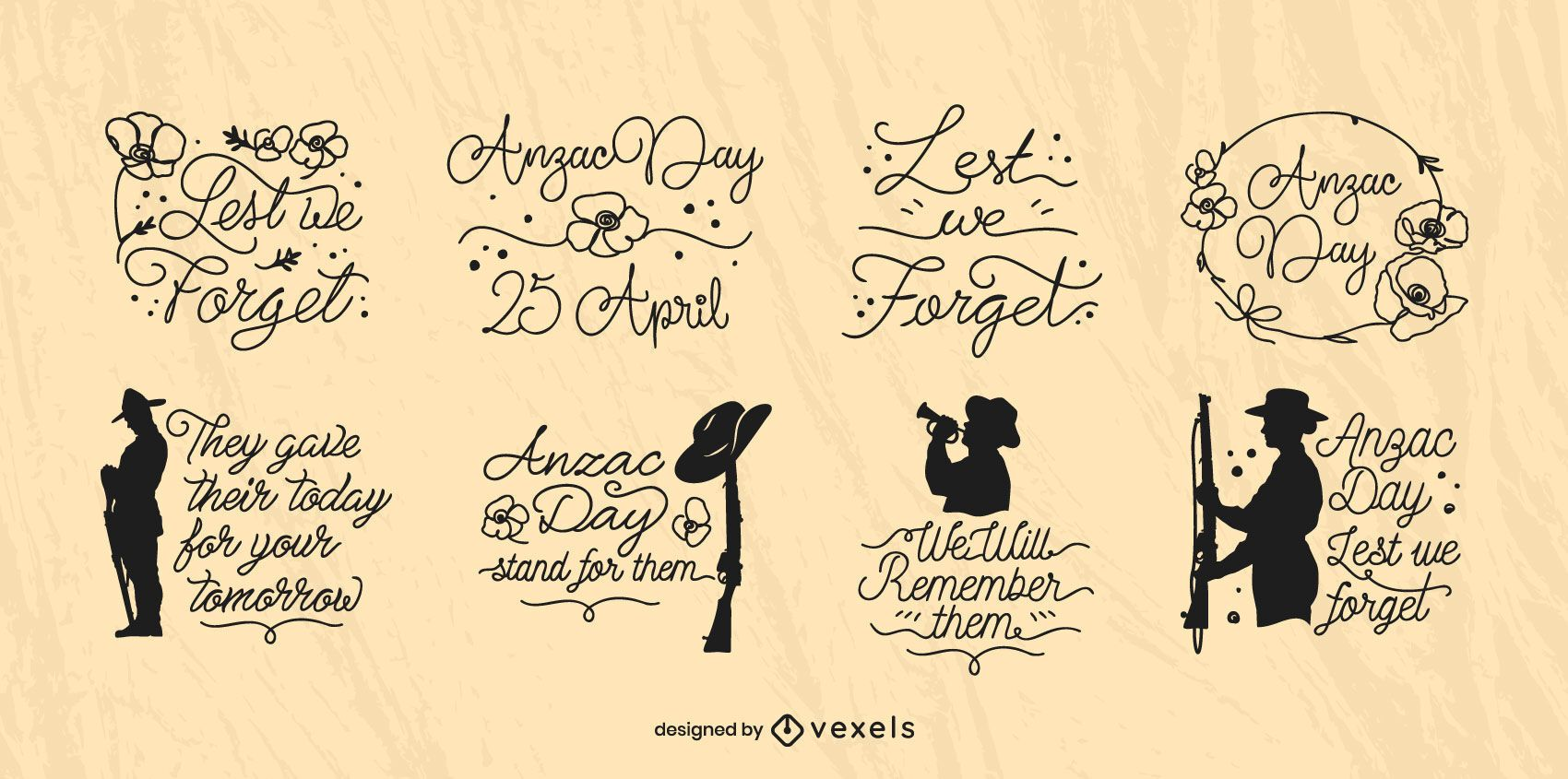 Anzac Day cursive badge set