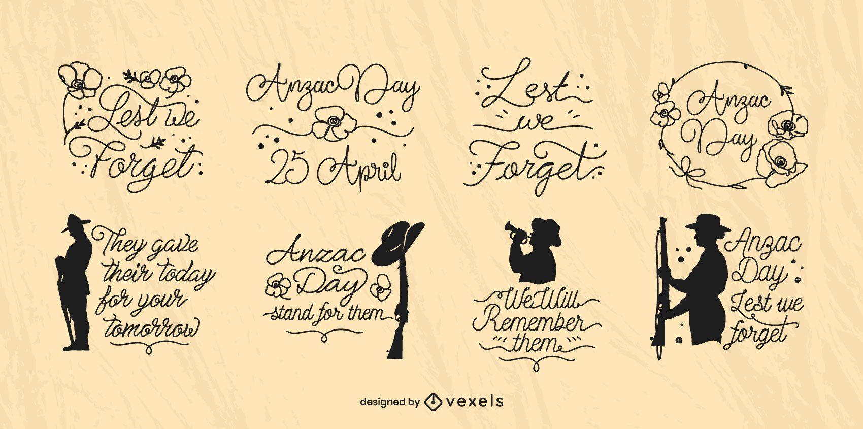 Conjunto de insignias cursivas del día de Anzac